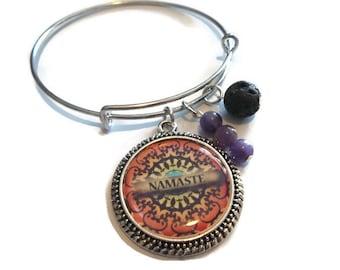 Namaste Spiritual Bracelet   Mantra Charm Bracelet   Mandala Essential Oil Bracelet   Bangle Bracelet   Lava Rock Diffuser Bracelet
