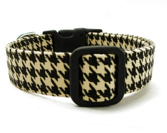 Dog Collar Black and Tan Houndstooth