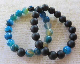 His/His Or His/Hers Or Hers/Hers Matching Stretch Bracelets With Onyx And Blue Agate