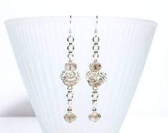 Topaz Crystal Silver Helms Chain Daisy Wire Wrapped Beaded Chainmaille Earrings