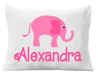 Pink Elephant Personalized Pillow Case, Pink Elephant Pillowcase, Elephant Bedding, Elephant Decor, Girls Elephant Bedding