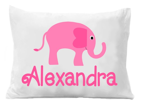 Pink Elephant Personalized Pillow Case Pink Elephant