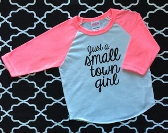 Just a small town girl pink raglan baseball tee t shirt girls Journey Dont stop believin hot