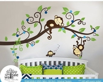 Cherry Tree with Owl, Fawn/Deer and Squirrel wall decals  - 3 forest animals with blossom tree and branch for nursery.