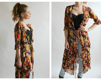 90s Kimono Cardigan Burnout Floral- S, Sheer Gauzy Grunge Tiered Black Yellow Pink Red Long Jacket