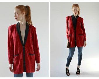 SONIA RYKIEL Red Cardigan- Sweater, M, Boxy Minimalist Designer Slouchy Vintage, Chic Long Sleeve Pure Silk Loose Fit Sexy Librarian