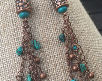Long Turquoise and Copper Chain Dangle Earrings