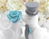 Reserved for Amy - Wedding Cake Topper, Love Birds, White Aqua and Grey, Bride and Groom Keepsake