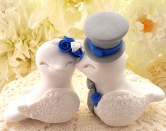 Love Birds Wedding Cake Topper, White, Royal Blue and Grey, Bride and Groom Keepsake, Fully Customizable