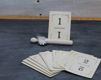 Vintage Flinch Cards, Wedding Table Card Numbers, 1-15, Set of 2