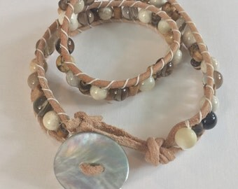Natural Leather Double Wrap Bracelet with Natural Colored Gemstones