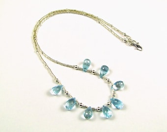 Blue Topaz on Sterling Silver Necklace - N857