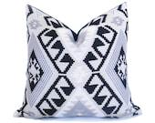 Kilim Pillow Cover - 20x20 inch - Black Gray Off-White - Woven Pillow - Boho Pillow - Black and White pillow - decorative pillow - designer