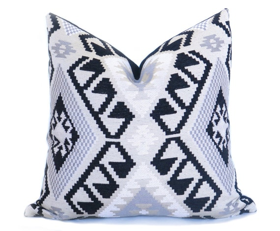 Large Off White Throw Pillows: Kilim Pillow Cover 20x20 Inch Black Gray Off-White Woven