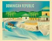 Dominican Republic art print,  Dominican Republic map, Dominican Republic travel poster, Caribbean poster, raft art - style E8-O-DOM
