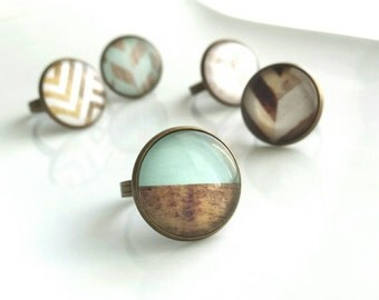Mint Wood Ring - half aqua minty blue wood grain photo under glass bubble - antique brass / bronze adjustable band - gifts for her under 20