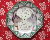Intense Deco Green Border With Donkey Couple Vintage Illustrated Valentines Day Plate