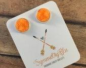 Orange Druzy 12mm Earring, Orange Earring, Stud Earring, Ready Ship Gift, Stud Earring, Costume Jewelry