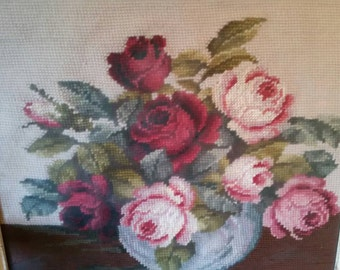 Vintage Needle Point with Shabby Frame