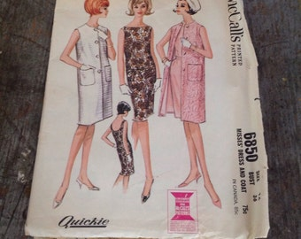 Vintage McCall's Sewing Pattern 6850 Misses' Size 16 Bust 36 Dress Coat
