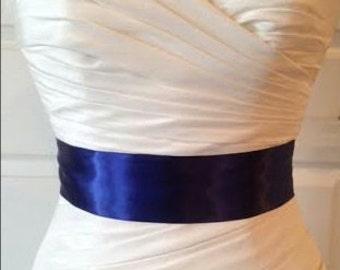 Navy Blue Bridal Sash, Navy Blue Wedding Sash, Bridal Accessories, Navy Blue Belt- 2.25 Inch Black Simple Satin Bridal Sash