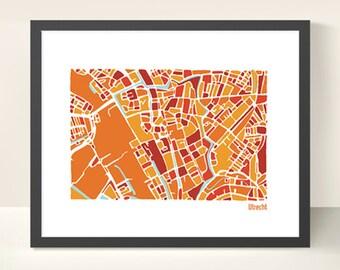 Utrecht City Map - Illustration print