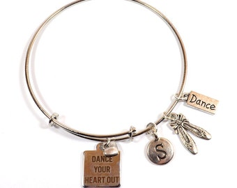 Dance Bracelet - Dance Your Heart Out - Expandable Silver Bangle Bracelet with 5 Charms - Personalization Available (B-105)