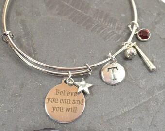 "Personalized Birthstone ""Believe"" Softball Bracelet - Expandable Silver Bangle Bracelet With 5 Charms (B-001)"