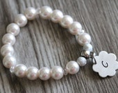 Flower Girl Bracelet, Initial White Pearls Bracelet, Children's Jewelry, Girls Gift, Stretch Bracelet, Hand Stamped Flower Initial