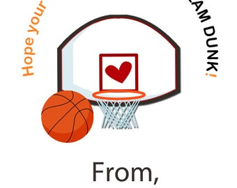Valentine Cards -- Basketball Valentine cards -- Kids Valentines