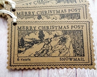 Christmas Post Gift Tags Brown Kraft Tag Snowmail Postage Stamp Rustic Vintage Style