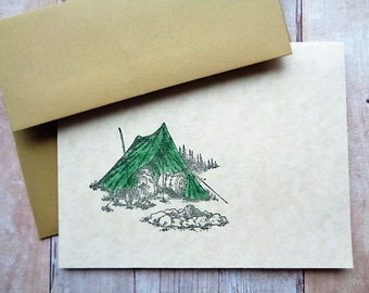 Camping Tent Note Cards Nature Rustic Woodland Adventure Awaits Camp Out
