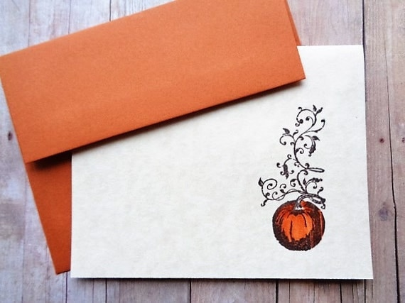 Rustic Pumpkin Note Cards Autumn Fall Thanksgiving
