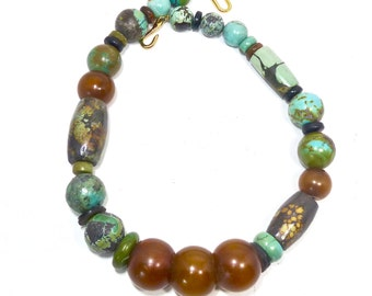 SALE 20% C152 - Large High Quality Chinese Turquoise, Vintage African Amber Beaded Necklace - SALE