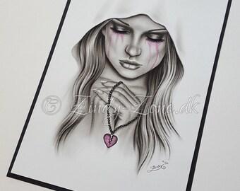 The Heartbroken Heart Necklace Sad Emo Girl Hood Tears Crying Pink Print Zindy Nielsen