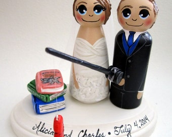 Gone Fishing / Wedding Cake Topper / Custom Painted Wood Peg Dolls with Plaque / Hobby / sports fan