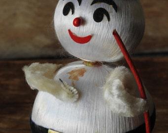 "Vintage Satin Ornament 6"" Snowman Chenille Arms Snow Base"
