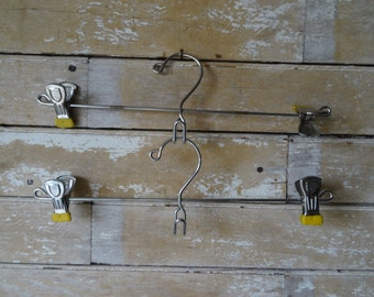 Vintage Pants or Skirt Hanger Metal Clips Yellow Set of 2