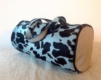 Cowhide Leather Round Handbag