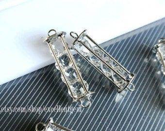 5 bracelet connector, silver plated brass with crystal bracelet connector in tube shape. jewelry finding