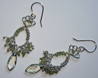 Prasiolite (green amethyst) and Peridot Silver wire wrap earrings