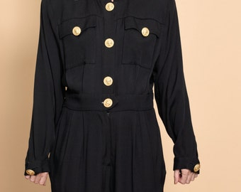 80s Black Jumpsuit with Gold Buttons