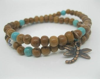 Double Wrap Mala Bracelet, Bayong Wood with Dragonfly Charm