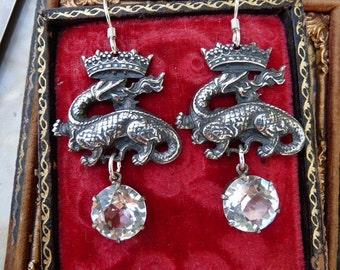 Antique French Crowned Dragon Salamander Earrings with Victorian Paste, by RusticGypsyCreations