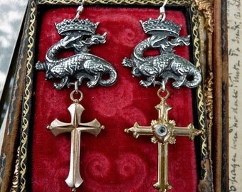 Antique French Cross and Crowned Dragon Earrings, The Sword of the Goddess, by RusticGypsyCreations
