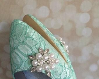Lace Wedding Flats - Dyed Any Color - Aqua Blue Wedding Shoes - Lace Flats - Lace Wedding Shoes - Lace Wedding Flats - Aqua Blue Wedding