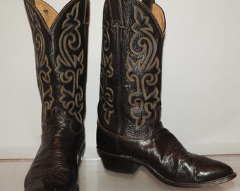 mens vintage cowboy boots Justin brown leather size 9