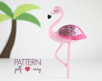 Flamingo Sewing Pattern - Felt Sewing Pattern - Felt Flamingo - Baby Mobile Pattern - Cake Topper - Ornament - Garland - Wedding