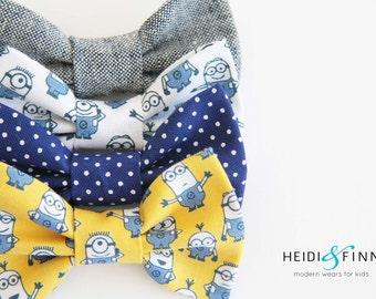 Minion Hairbow SET  Hairclip despicible me blue yellow navy white hairband
