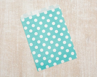 10 paper bags blue polka dot